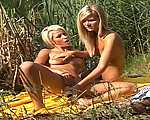 Adorable busty blonde teens masturbating outdoors